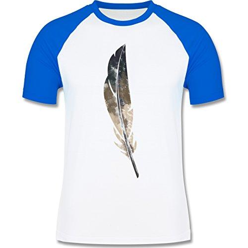 Statement Shirts - Wasserfarben Feder - zweifarbiges Baseballshirt für Männer Weiß/Royalblau