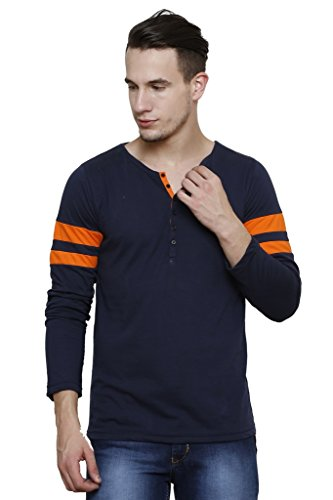 Rigo Navy Slim Fit, Orange Stripes Detailing, Full Sleeve Henley Tee
