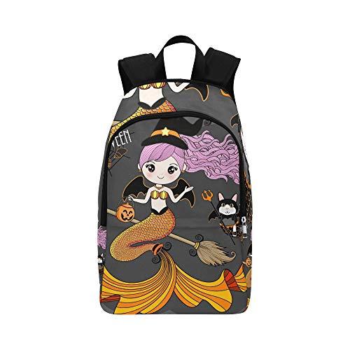 Meerjungfrau mit Halloween-Kostüm Casual Daypack Reisetasche College School Rucksack für Männer und Frauen