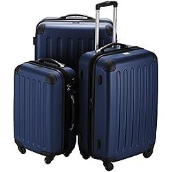 Hauptstadtkoffer - Juego de 3 maletas rígidas con ruedas en 3 tamaños o juego junto con ruedas giratorias y candado TSA con combinación, azul (azul) - 1203