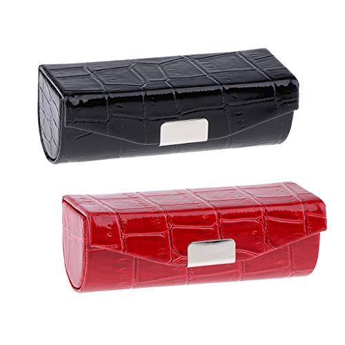 Homyl 2x Etui De Rangement En Cuir Avec Porte-rouge Rangement Lipstick Avec Miroir Portable de Sac à Main