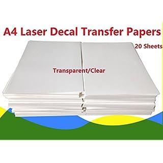 【 】 A4Größe Laser Water Slide Aufkleber Papier Blatt, transparent klar 20Stück DIY für Laser-Drucker