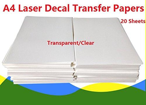 20 Stück A4 Größe Laser Wasserrutsche-Aufkleber Papier Blätter transparent klar DIY für Laserdrucker