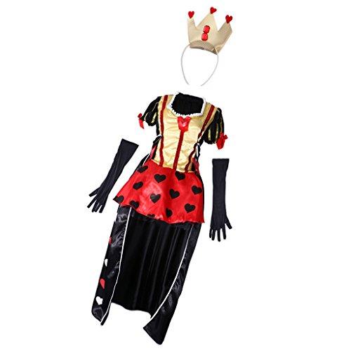 Imagen de magideal traje de mujeres forma de reina de cartas disfraces de halloween carnaval diadema y 1 par de guantes ropa de fiesta de noche cosplay