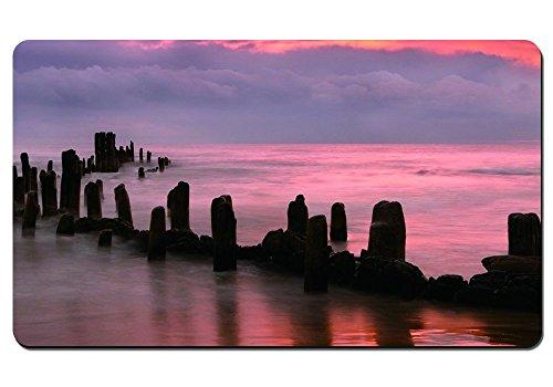broken Pier in a beautiful Peach Colored Sea and Sky–grande mouse pad/tappetino da tavolo 61x 35,6cm