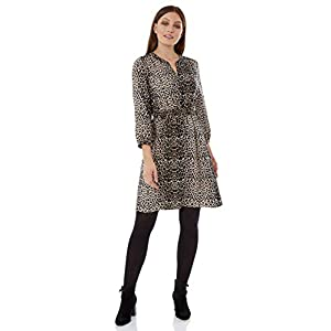 a4892f1297e0 Roman Originals Women Animal Print Shirt Dress – Ladies Smart Casual Work  Office Wear Day A-Line Fit and Flare 3/4 Length Sleeve Notch Neck Mini  Dresses