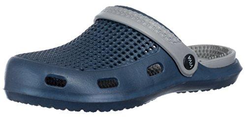 BRANDSSELLER Herren Clogs Hausschuhe Gartenschuhe Badeschuhe Freizeitschuhe Pantoletten Atmungsaktiv Massagefussbett Slipper mit Fersenriemen Farbe: Blau - Größe: 43