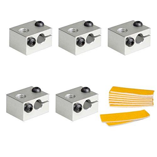 Pchero blocco di riscaldamento v6 in alluminio con isolamento in cotone per hotend v6 da stampante 3d