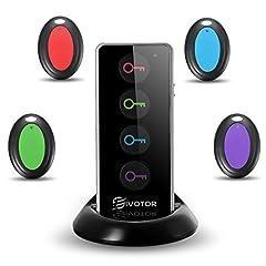 Idea Regalo - Key finder,EIVOTOR Cercatore Chiave Wireless con Luce LED Trova Chiave Sonoro 1 Telecomando Trasmettitore e 4 Ricevitori Tracker Anti-Lost Localizzatore con Allarme Sonoro
