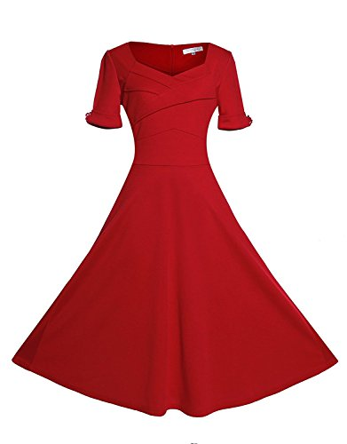 Gigileer 50er Rockabilly Kleid / Rotes Cocktailkleid - 2
