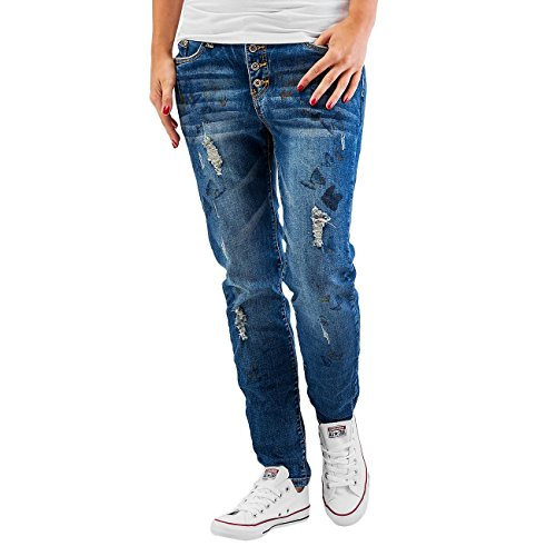 Authentic Style Donna Jeans / Jeans Boyfriend Butterfly