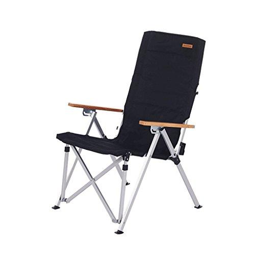 CKH Leichte Aluminiumlegierung Klappstuhl Tragbare Lounge Chair Angeln Skizze Freizeit Stuhl Camping Strandkorb (Color : Black)
