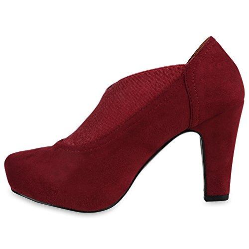 Damen Stiefeletten Ankle Boots Schnürstiefeletten Retro Style Dunkelrot Elastikband