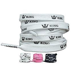 LaceHype® Sneaker Schnürsenkel geeignet für Adidas Ultra Boost, NMD und Nike Air Max Sportschuhe King und Queen Schnürbänder beschriftete Schuhbänder | 1 Paar Premium Sneaker Laces