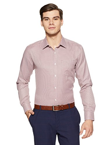 Park Avenue Men's Checkered Slim Fit Formal Shirt (PMSX11329-R3_42_Medium Red)