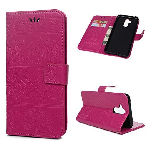 Huawei Mate 20 Lite Lederhülle Wallet Case für Huawei Mate 20 Lite Handyhülle elephant Flipcase Ständer Schutz Etui Schale Bookstyle Schutzhülle Magnetverschluß Karteneinschub Handschlaufe, Rose rot