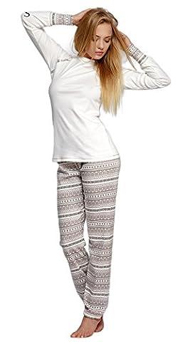 SENSIS edler Baumwoll-Pyjama Hausanzug aus schickem langarmem Oberteil und toller langer Hose, ecru/braun, Gr. M (38)