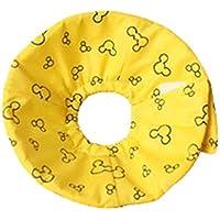 JEELINBORE Collares y Conos de Recuperación de Tela Ligero Collarín Collar isabelino para Animales Pequeños (Amarillo, Diámetro: 5cm)