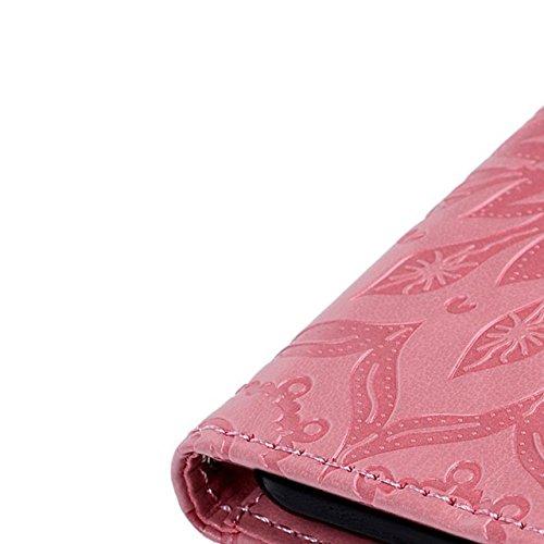 iPhone 7 4.7 Pouces Coque, Vandot 3 en 1 PU Cuir Flip Magnétique Portefeuille Etui pour iPhone 7 Mandala Pattern Gaufré Housse de Protection avec Cartes de Crédit Slots et Fonction Stand Support Créat Mandala-Rose