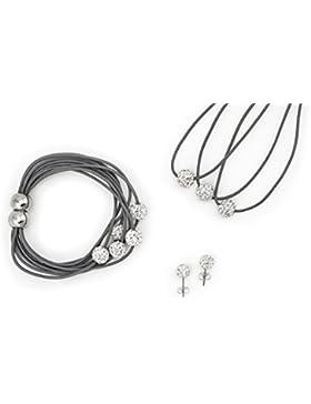 3er Shamballa Schmuck Set (Halskette+Armband+Ohrringe) Silber