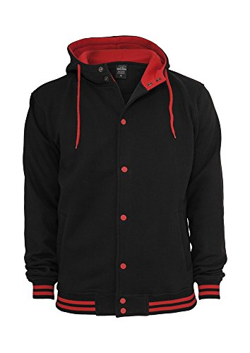 TB288 Hooded College Sweatjacket Herren Outdoor Jacke mit Kapuze Blk/Red