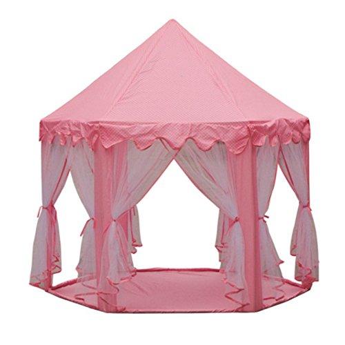 Lamdoo Kinder Spielburg Zelt Princess Spiel Haus ideale Geschenke für Indoor Outdoor 140 x 135 cm Rosa