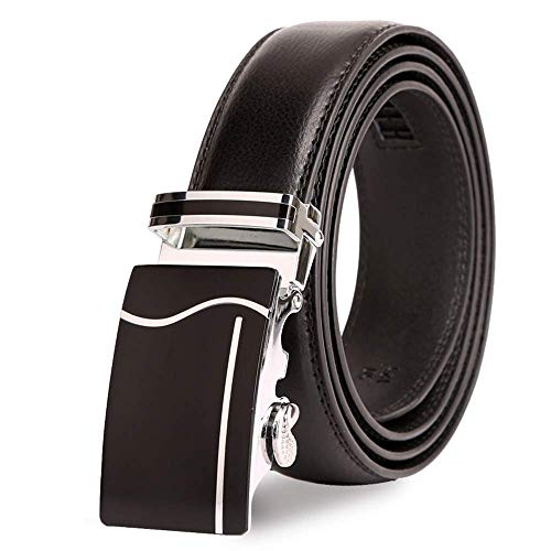 Man Fashion Genuine Leather Belts Metal Automatic Buckle Strap -