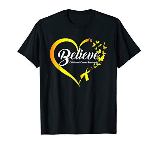 Butterfly Believe Childhood Cancer Awareness Ribbon T-Shirt -