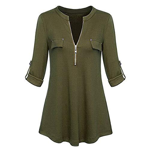 iYmitz Damen Solide Langarm Knopf Bluse Pullover Tops Shirt Mit Taschen(X9-Armeegrün,EU-40/CN-XL)