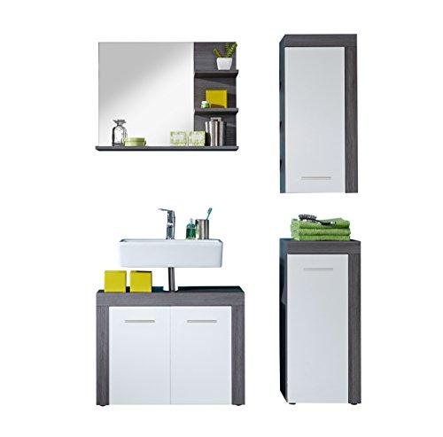 trendteam Badezimmer 4-teilige Set Kombination Miami, 123 x 184 x 34 cm in Korpus Rauchsilber Dekor, Front Weiß mit viel Stauraum