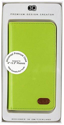 3Q Universal Handy-Hülle 5 Zoll 5.5 Zoll bis 4 Zoll Durchdachtes Schiebemechanismus für Fotos Hochwertiger Leder-Optik Elegante Handy-Tasche Case Etui mit Fächern für Kreditkarten Ausweis Geld Schweizer Premium Design und Verpackung Cover Grün