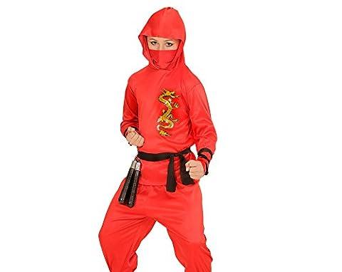 WIDMANN 01337–Costume de Dragon pour Enfant Ninja, haut avec capuche, pantalon, ceinture, Masque, rouge