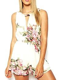 Amlaiworld Damen Jumpsuits Sommer Floral Print ärmellose rückenfrei Chiffon Overall kurze Hose