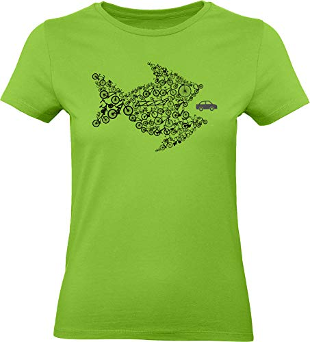 Damen Fahrrad T-Shirt: Bikes of The World Organize ! - Tailliert - Fahrrad Geschenke für Frauen Radfahrerinnen Mountain-Bike MTB BMX Fixie Rennrad Tour Outdoor Sport Frau Urban (Grün M)