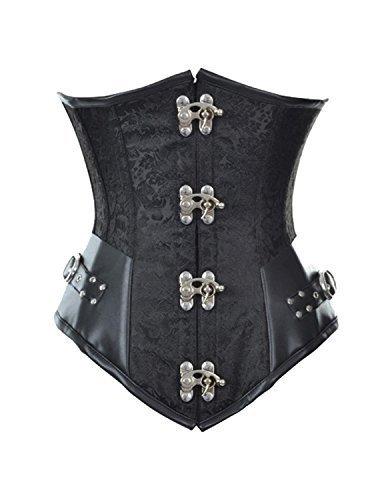 Corsé para mujer Burvogue, estilo Steampunk y gótico, para debajo del busto y la cintura Negro negro Medium