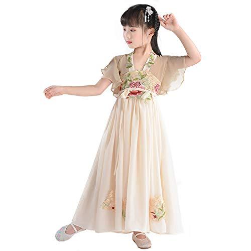 JIE. Mädchen chinesischen Stil 2019 Neue Kinder Hanfu Mädchen fremde Kostüm Kleid,140cm
