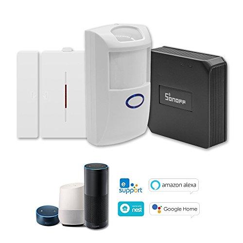 Festnight 3-in-1-Kits: SONOFF RF Bridge 433 MHz WiFi-Funkschaltmodul + PIR2-PIR-Sensor + DW1-Tür- und Fensteralarmsensor Kompatibel mit Alexa und für Google-Startseite