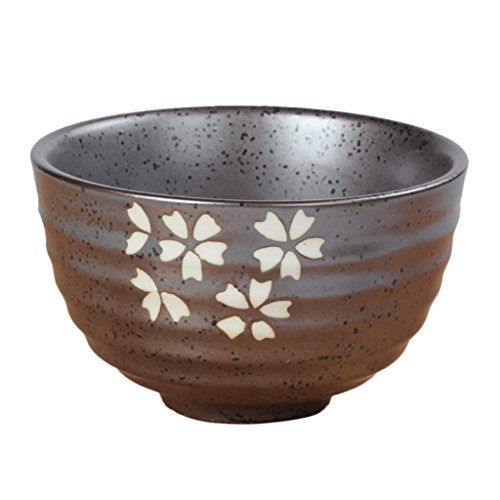 Bol à Thé Japonaise Matcha en Céramique Motif Fleur Pivoine/Lotus/Nuage/Cerise Accessoire Pr Cérémonie Thé - cerise, 11.3x4.8x6.9cm