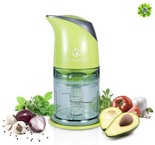 NUTRILOVERS Multizerkleinerer elektrisch - Universal Zerkleinerer für Nüsse uvm. - Küchenmaschine mit 400 Watt, 4-Klingen – grün