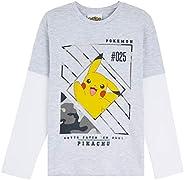 Pokèmon Camiseta Niño, Camisetas de Manga Larga Gris y Negra, con Pikachu Bulbasaur Charmander y Squirtle, Reg