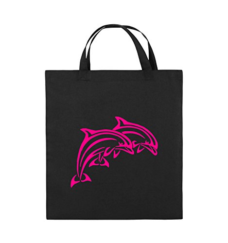 Comedy Bags - DELPHINE - Jutebeutel - kurze Henkel - 38x42cm - Farbe: Schwarz / Silber Schwarz / Pink