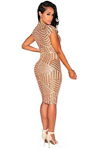 OMUUTR Damen Paillette Kurzarm V Ausschnitt Pailletten Kleider Schlank Split Front Figurbetontes Bodycon Midikleid Abendkleid Cocktailkleid Gold Medium - 2