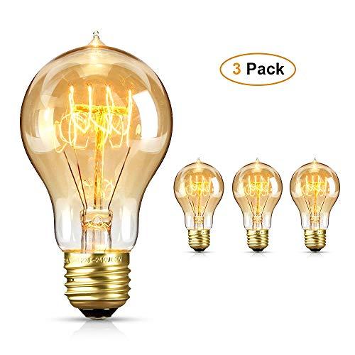 Edison Glühbirne, otumixx Vintage Glühbirne E27 60W 220V Retro Glühbirnen Dimmbar Filament Warmweiß 2700-3200K Dekorative Glühbirne Ideal für Nostalgie und Antike Beleuchtung - 3 Stück
