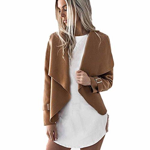 iHENGH Damen Kardigan Top,Ladies Warm Wolle Lange ÄRmel Casual Mantel Cardigan Wasserfall Jacken Parka Outwear Jacke Coat Tops (EU-38/CN-L,Khaki)