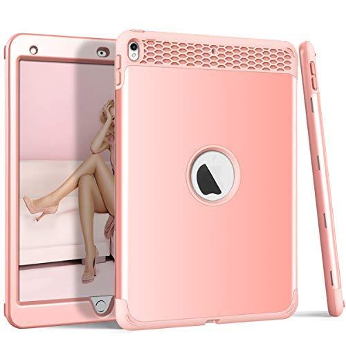DECVO 3-in-1-Schutzhülle für iPad Pro 2017, strapazierfähig, stoßfest, robust, stoßfest, Hybrid-Hart-PC-Schutz, Weiches Silikon für Das gesamte iPad Pro 10,5 Zoll, Rose (Tech 21 Ipad Mini)