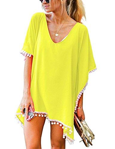 Walant Damen Chiffon Strandkleid mit Quaste Kurzarm Bluse Sommer T-Shirt Bikini Cover Up (Einheit, Y-Gelb)
