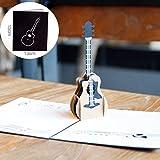1 Stücke 3D Gitarre Pop Up Karte Geburtstag Karte Aushöhlen Grußkarte Postkarte Einladung Ehe Liebesbriefe Nachrichten