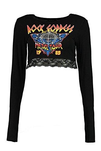 Noir Femmes Lizzie T-shirt De Groupe En Dentelle Imprimé À Manches Longues Noir