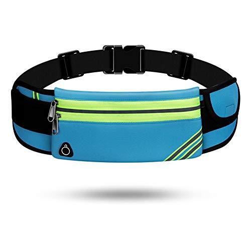 Lauftasche für Handy, Laufgürtel Schlüssel Hüfttasche, Sport Jogging Fitness Gürtel iPhone 6 7 Plus + Samsung Galaxy S7 Edge S8 + Plus Huawei HTC ZTE UVM. (A,Zweilagiger Reißverschluss)