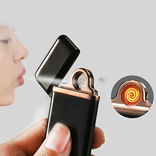Jobon Elektronisches Feuerzeug ZB-576 (Dazzle Farbe) USB aufladbare Gleiche Slim mit iphone6   Smart-IC auf 7 Sekunden automatisch Extinguished (Schwarz)